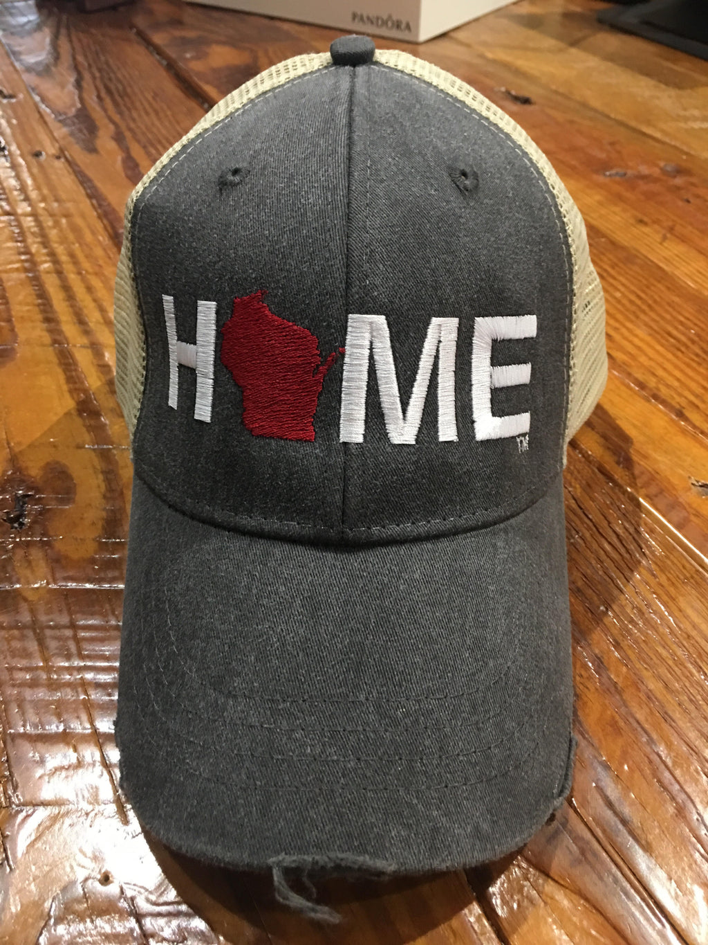 HOME Wisconsin red - Tan/Charcoal - Mesh Hat - My State Threads