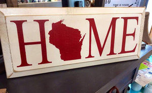 HOME (Wisconsin)- Wood Sign - Cottage White with Red Lettering
