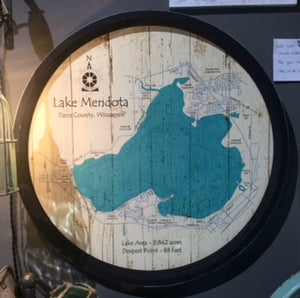 "Lake Mendota - Barrel End Style Lake Art - 23"" Round"
