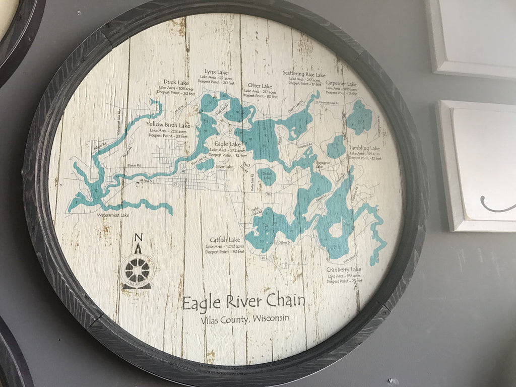 "Eagle River Chain of Lakes - Barrel End Lake Art - 23"" Round"