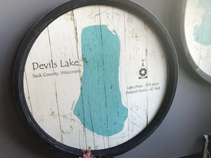 "Devils Lake - Barrel End Lake Art - 23"" Round"