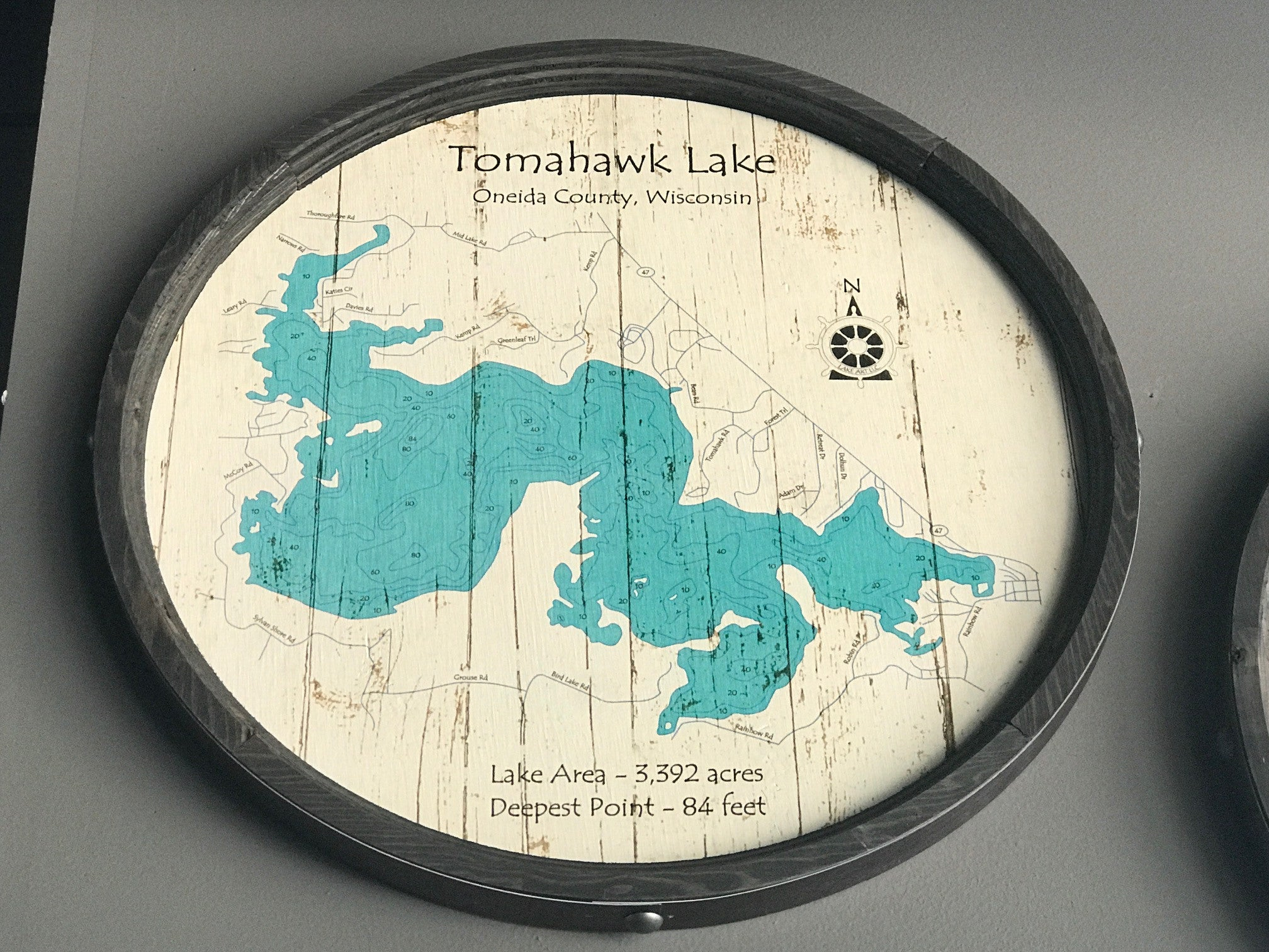 "Lake Tomahawk - Barrel End Style Lake Art - 23"" Round"