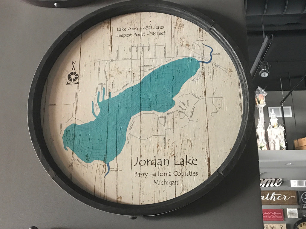 "Jordan Lake - Barrel End Lake Art - 23"" Round"