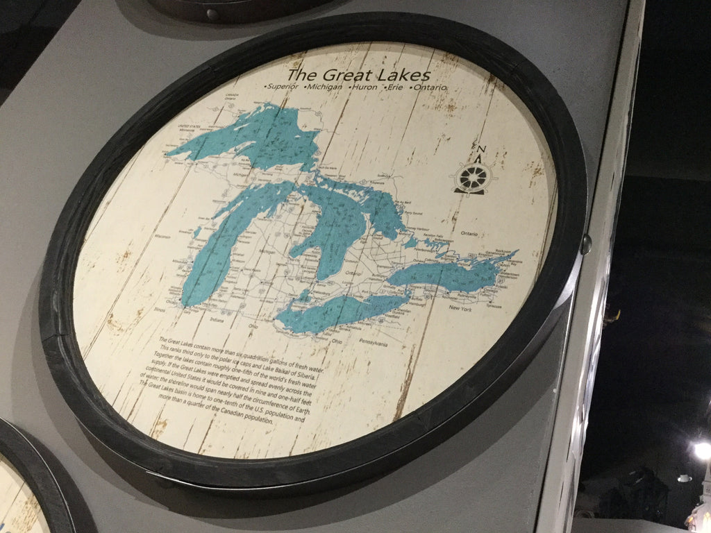 "Great Lakes - Barrel End Lake Art - 23"" Round"