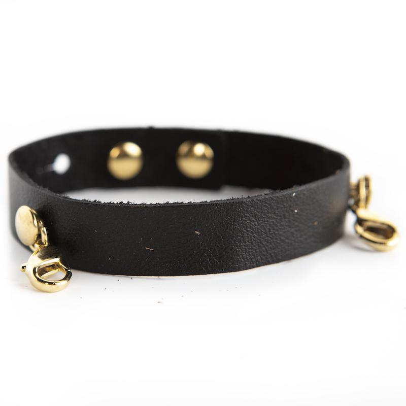 BLACK Leather Cuff - GOLD  - Lenny and Eva