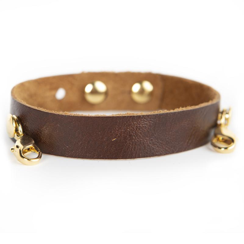 Chestnut Brown Leather Cuff - SILVER  - Lenny and Eva