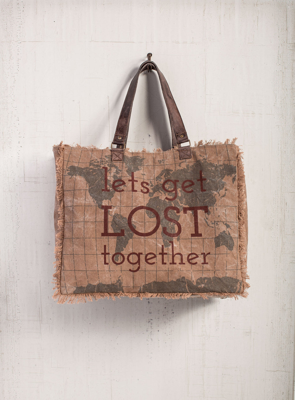 Lets Get Lost - Reclaimed Canvas Weekender Tote