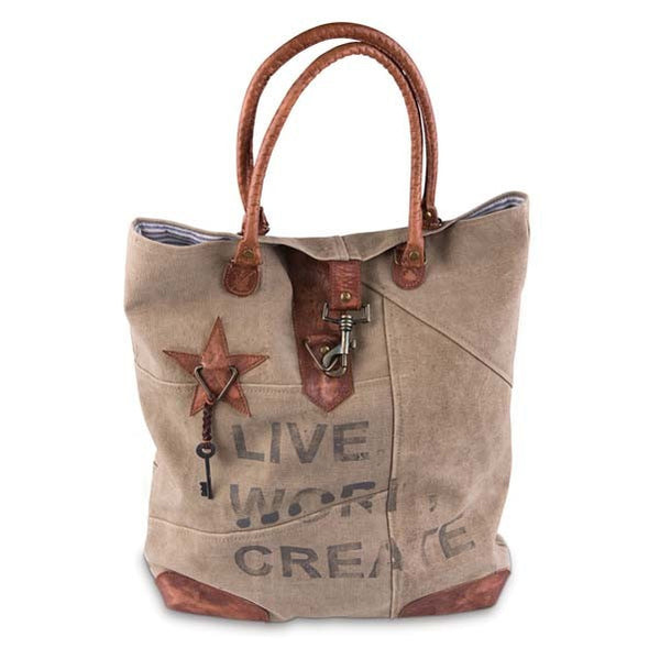 Live Work Create Reclaimed Canvas Tote Bag Red Barn