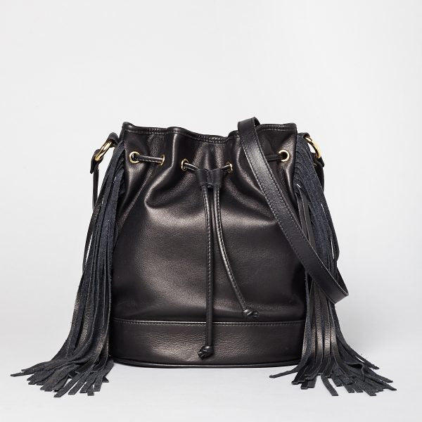Nina - Black - Side Fringed Leather Drawstring Bag - Pietro