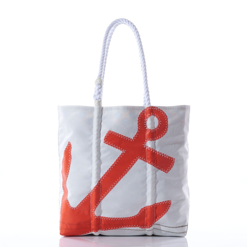 Orange Anchor Tote - Handmade from Reclaimed Sails - Medium with White Rope Handles