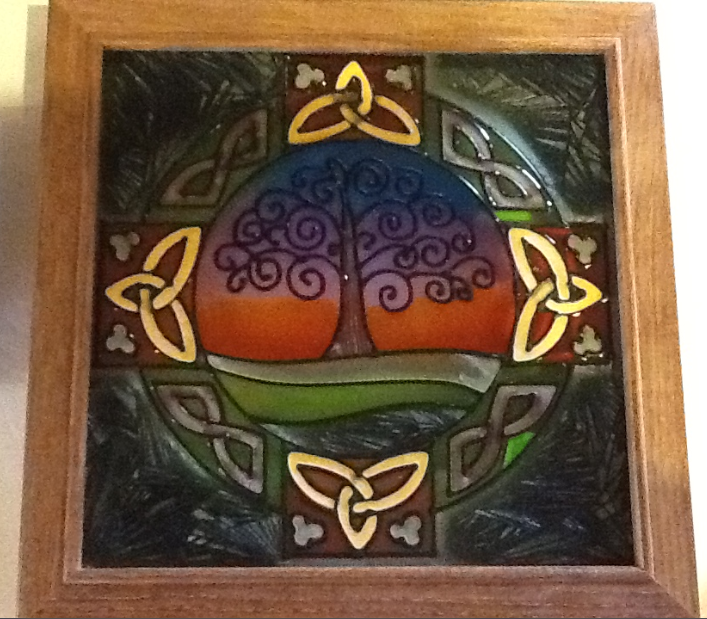 Tree of Life- Painted Glass 9.5 x 9.5