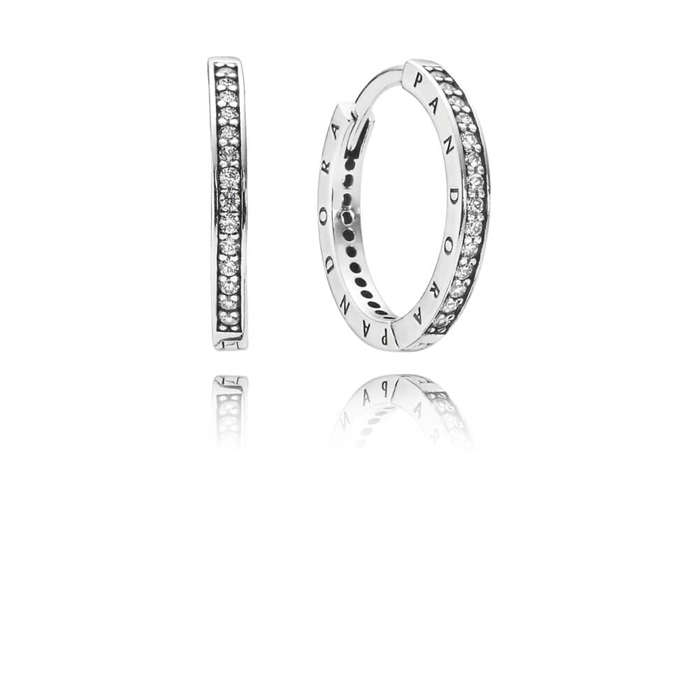 PANDORA Signature Eternity Hoop Earrings - Sterling Silver with Clear CZ - PANDORA - 290558CZ