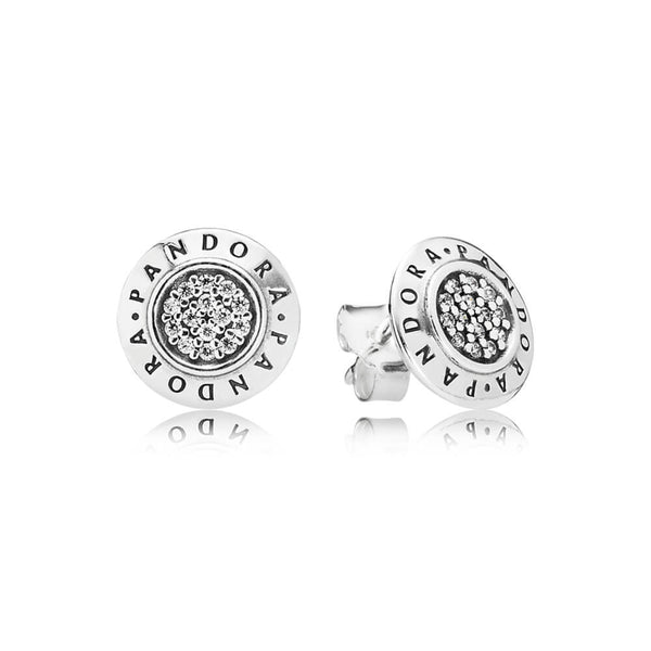 24d02b8c8 PANDORA Signature Stud Earrings - Sterling Silver with Clear CZ - PANDORA -  290559CZ