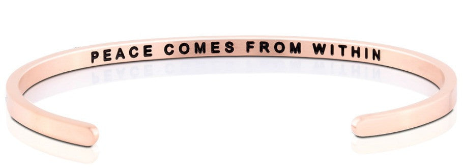 Peace Comes from Within - MantraBand - 18k Rose Gold Overlay