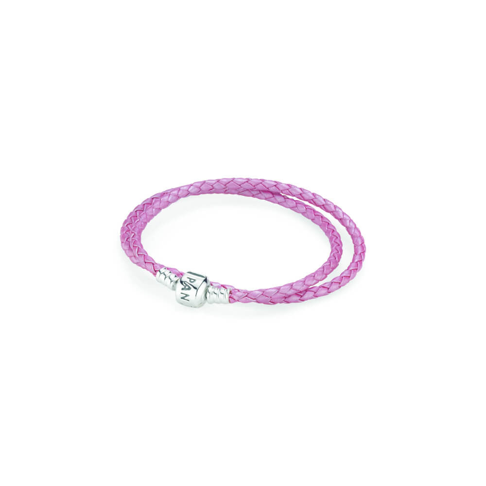 69261610a40 Pink Braided Double Leather Charm Bracelet - with Sterling Silver - PANDORA  - 590705CMP-D