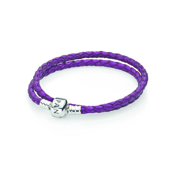 35bfceb5f Purple Braided Double Leather Charm Bracelet - with Sterling Silver -  PANDORA - 590705CPE