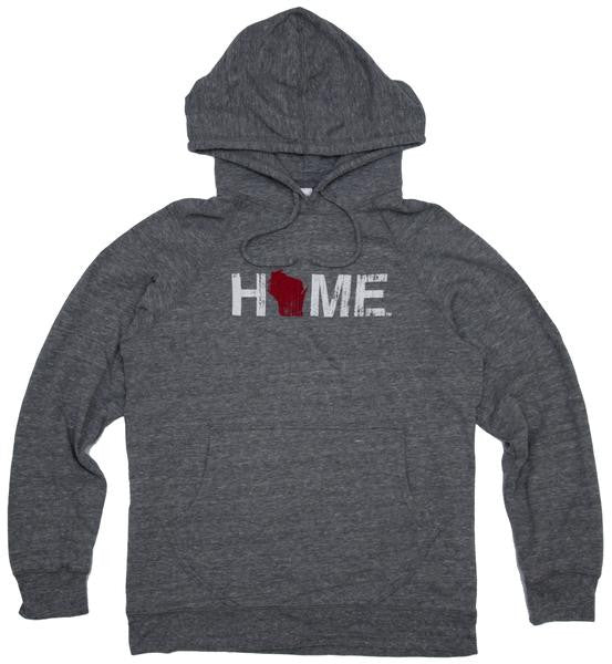 Wisconsin Hoodie - Home - Grey with Red and White - My State Threads