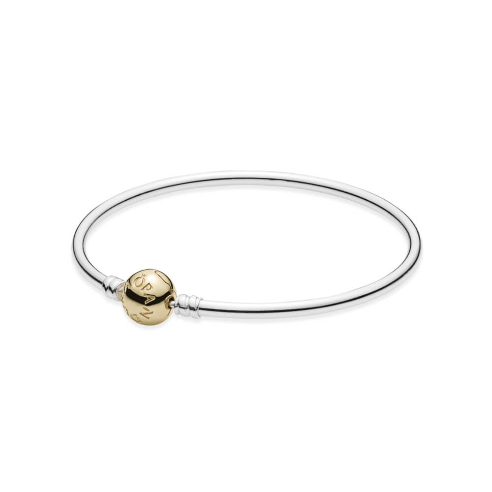 Silver Bangle Charm Bracelet with 14K Gold Pandora Clasp - Sterling Silver with 14K Gold - PANDORA - 590718