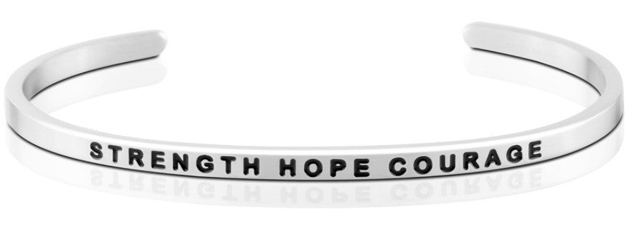 Strength Hope Courage - MantraBand - Silver