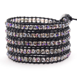 Sunset Lavender Hint on Black Leather - Victoria Emerson Wrap Bracelet