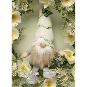FAIRY GARDEN GNOME WITH FUZZY HAT WITH BERRY VINE AND BUTTERFLY,14""