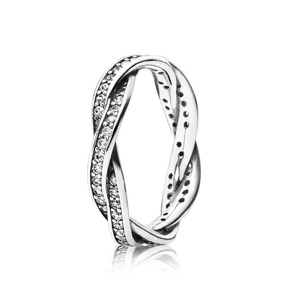 Twist Of Fate Ring Sterling Silver With Clear Cz