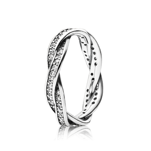 Twist of Fate Ring - Sterling Silver with Clear CZ - PANDORA - 190892CZ