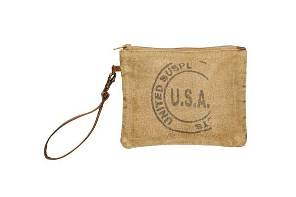 USA Stamped Medium Pouch - Reclaimed Canvas