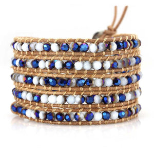 TWO-TONE WHITE AND BLUE CRYSTALS ON NATURAL - Victoria Emerson Wrap Bracelet