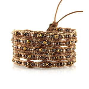 WAVY METALLIC CRYSTALS ON NATURAL - Victoria Emerson Wrap Braclet