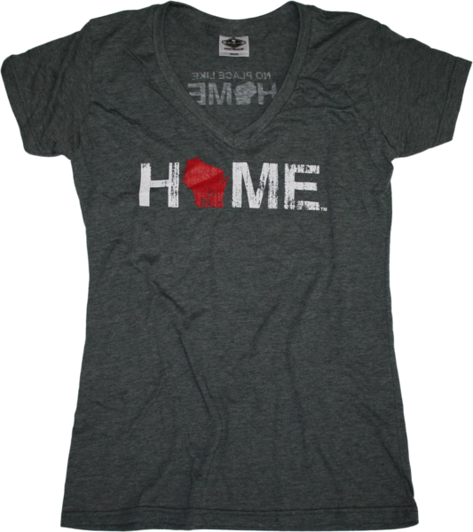 Ladies Wisconsin V-Neck - Home - Grey with Red - My State Threads