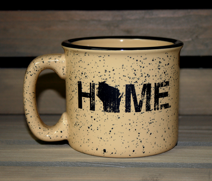 Wisconsin Home Tan Camp Mug - Black - My State Threads