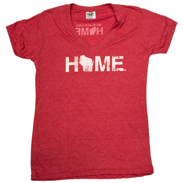 WI Home Ladies V-Neck Tee - Red/White - My State Threads