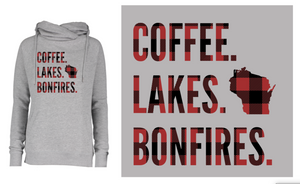 Coffee, Lakes and Bonfires-Sweatshirt (Red&Black Buffalo Plaid)