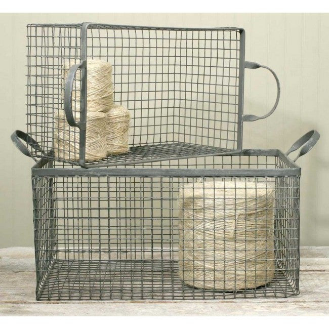 Wire Box Basket - Galvanized - 2 sizes to choose from