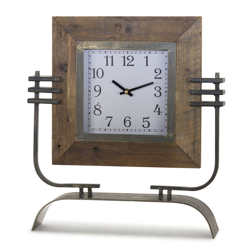 "Iron and wood clock on stand 15""x 17.5"""