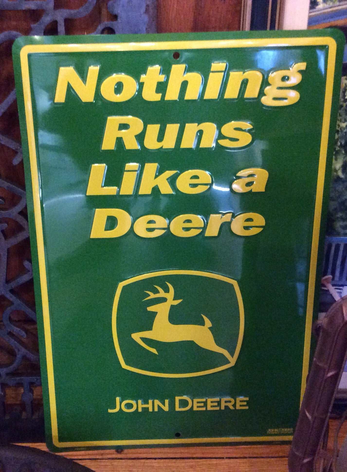 Nothing Runs Like A Deere Tin Sign Rectangular Red Barn