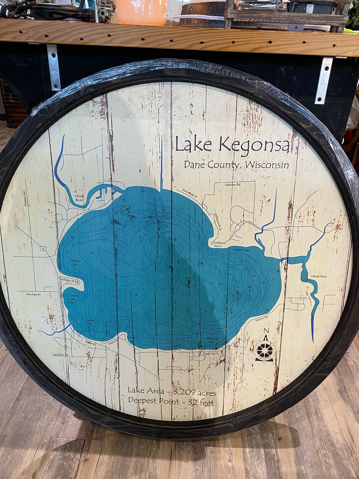 Large Lake Kegonsa-Barrel End Style Lake Art-40""