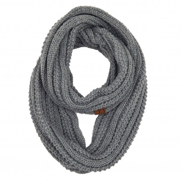 Solid Ribbed Knit Infinity Scarf- Light Melange Grey