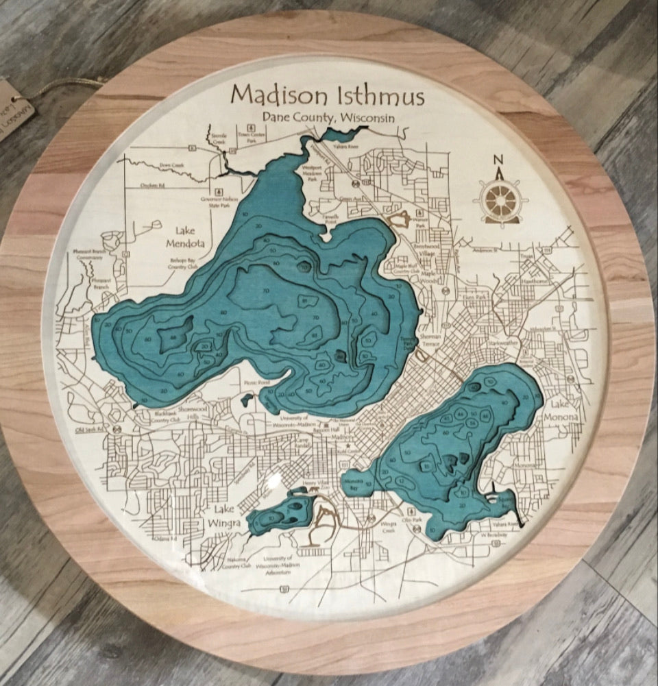 Madison Isthmus Lazy Susan-Bathymetry
