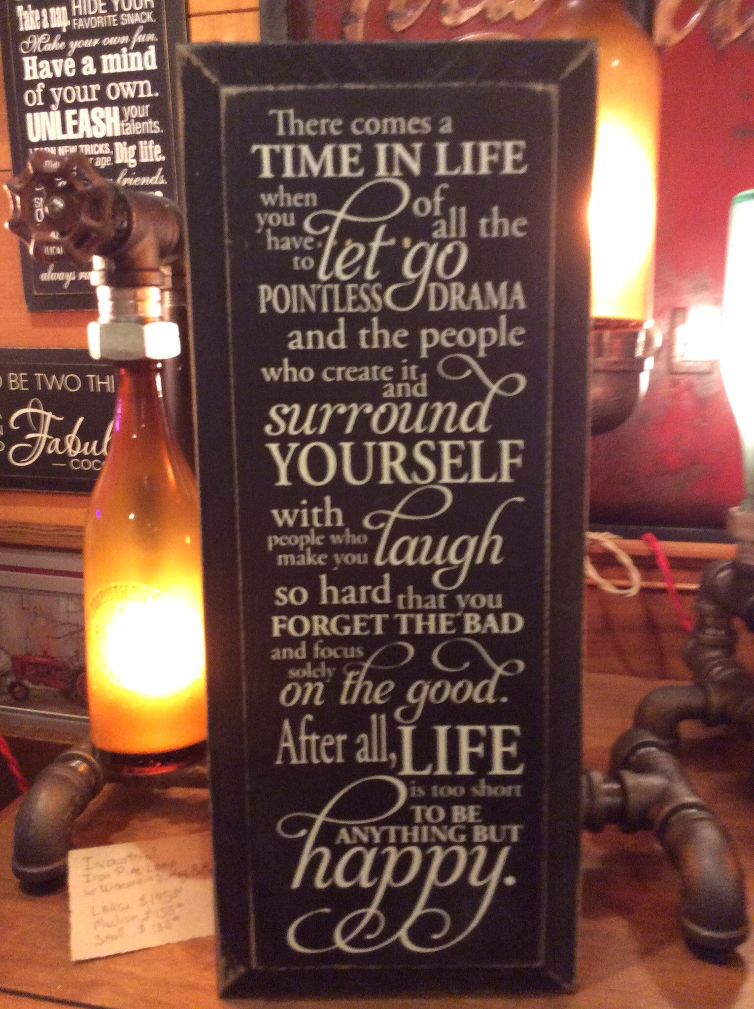 f4ac49304b2 There Comes a Time in Life When You Have to Let Go...- Wood Sign - Black  with Cottage White Lettering