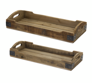 Wood/Iron Tray with Handles (2 Sizes Sold Separately)
