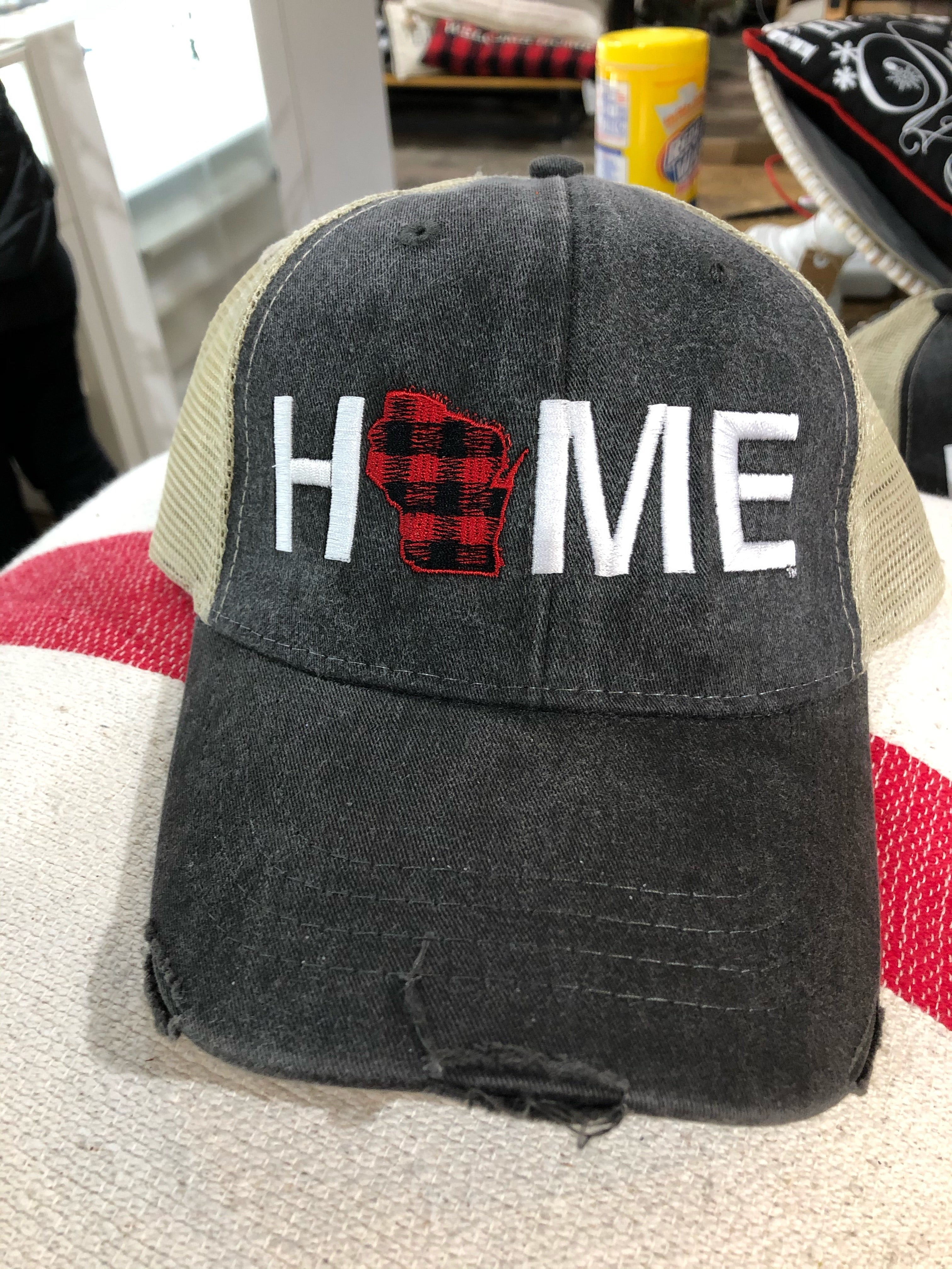HOME Wisconsin Buffalo Plaid - Mesh Hat - My State Threads