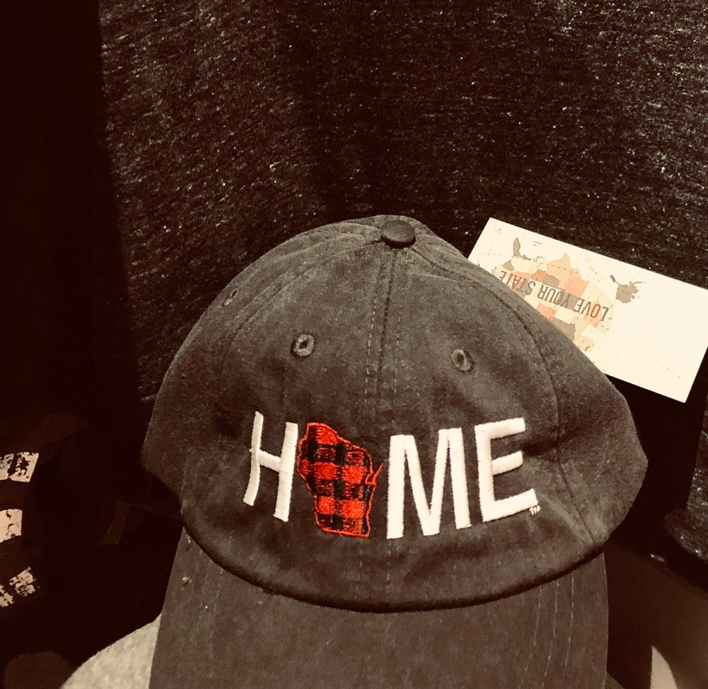 HOME twill hat - My State Threads - Black WI Plaid Home