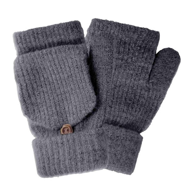 Fingerless Pop Top Knit Mittens-Dark Grey