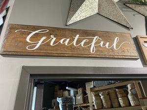 Grateful - Capital G - Painted Sign - Walnut Stain with Cottage White Lettering