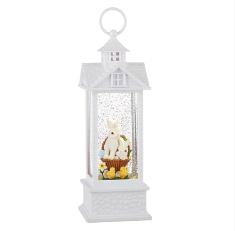 "11.75"" Bunnies in Basket Water Gazebo Lantern"