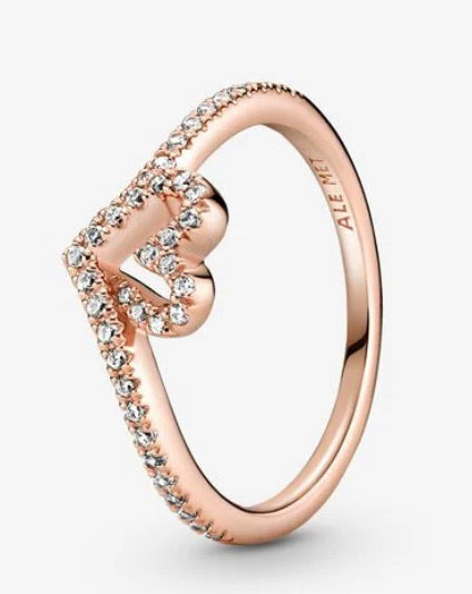 Sparkling Wishbone Heart-Ring-Pandora Rose