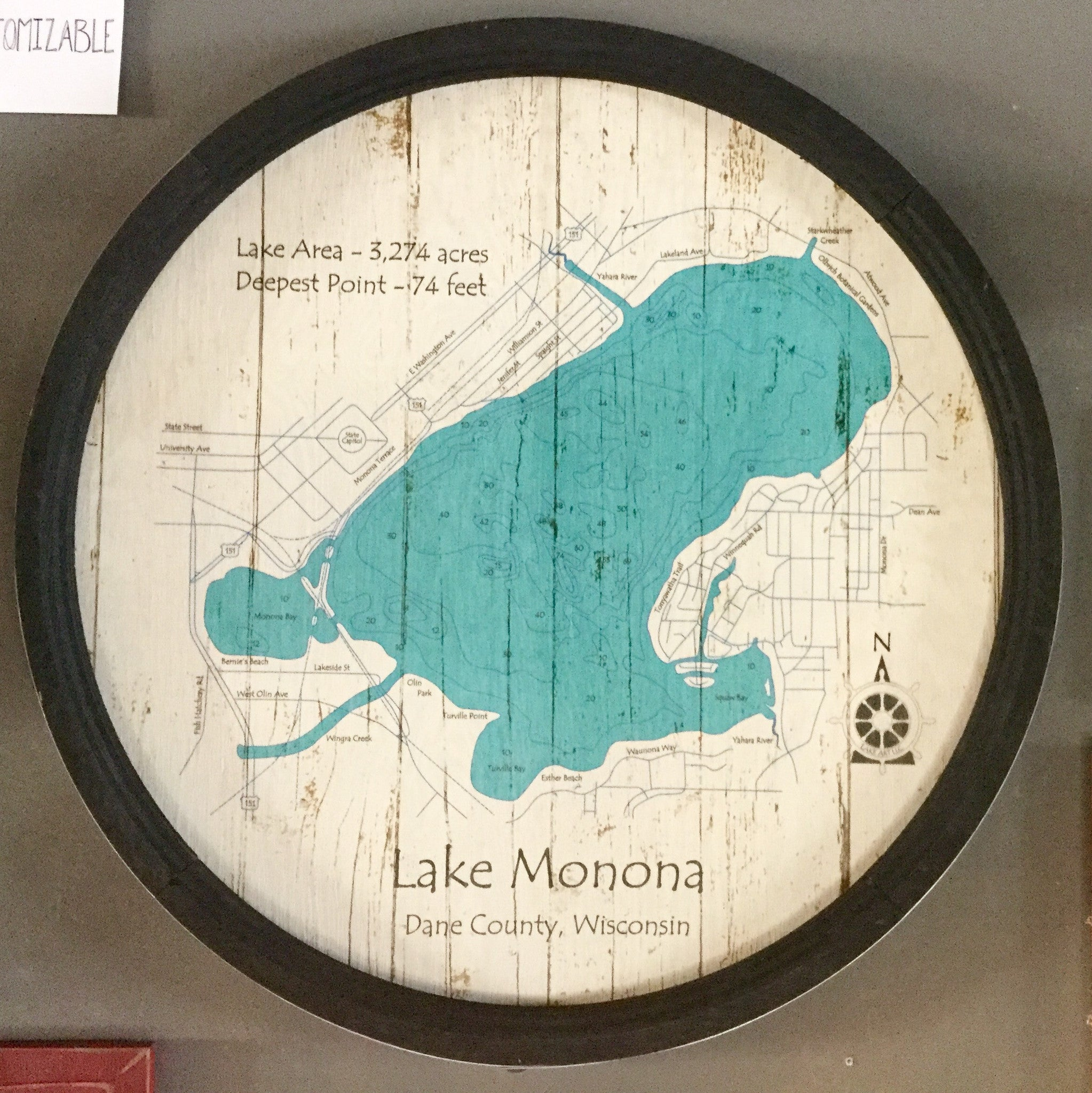 "Lake Monona - Barrel End Lake Art - 23"" Round"