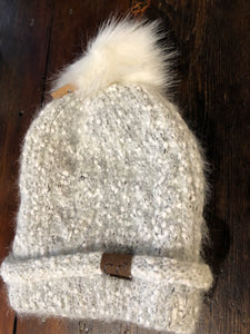 White and Silver Beanie Cuff With Faux Fur Pom Pom